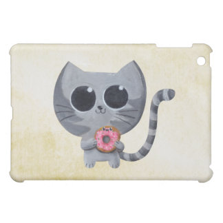 Cute Grey Cat and Donut Cover For The iPad Mini