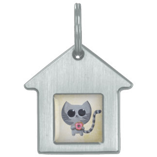 Cute Grey Cat and Donut Pet Name Tag