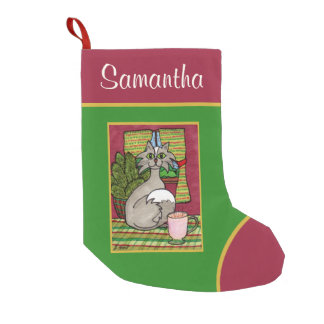 Cute Grey Cat & Cup of Hot Eggnog Personalized Small Christmas Stocking