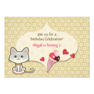 Cute Grey Cat, Ice Cream, Flowers Birthday Invite