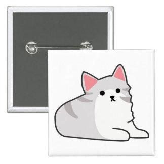 Cute Grey Cat Illustration, Feline Drawing Buttons