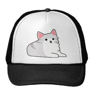 Cute Grey Cat Illustration, Feline Drawing Cap