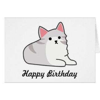 Cute Grey Cat Illustration, Feline Drawing Greeting Card