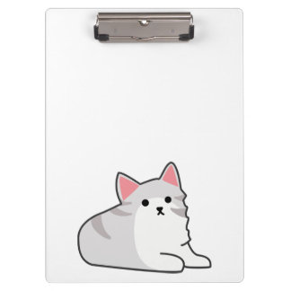 Cute Grey Cat Illustration, Feline Drawing Clipboard