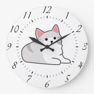 Cute Grey Cat Illustration, Feline Drawing Wall Clocks