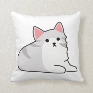 Cute Grey Cat Illustration, Feline Drawing Pillow