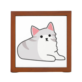Cute Grey Cat Illustration, Feline Drawing Desk Organizer