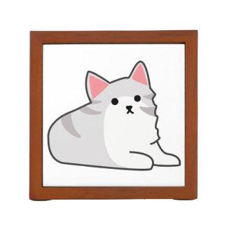 Cute Grey Cat Illustration, Feline Drawing Desk Organisers