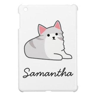 Cute Grey Cat Illustration, Feline Drawing iPad Mini Covers