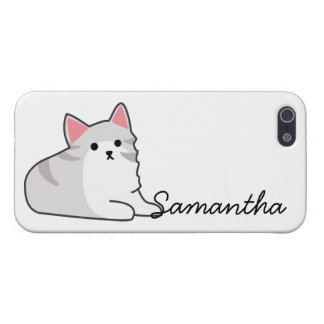 Cute Grey Cat Illustration, Feline Drawing iPhone 5/5S Cases