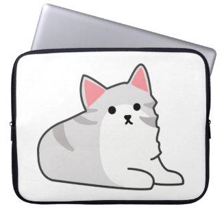 Cute Grey Cat Illustration, Feline Drawing Laptop Computer Sleeves