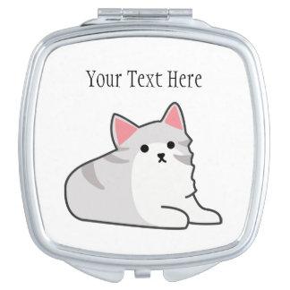 Cute Grey Cat Illustration, Feline Drawing Makeup Mirror