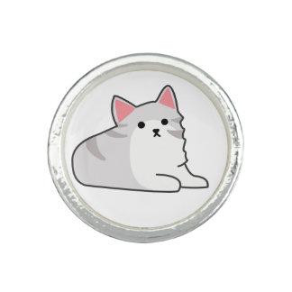 Cute Grey Cat Illustration, Feline Drawing Ring
