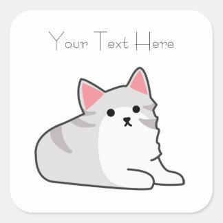 Cute Grey Cat Illustration, Feline Drawing Square Sticker