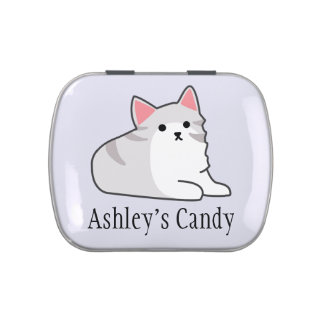 Cute Grey Cat Illustration, Feline Drawing Jelly Belly Candy Tin