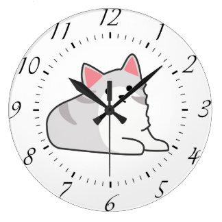 Cute Grey Cat Illustration, Feline Drawing Wallclock