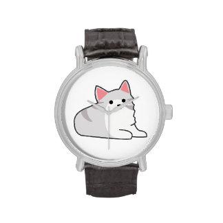 Cute Grey Cat Illustration, Feline Drawing Wristwatches