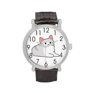 Cute Grey Cat Illustration, Feline Drawing Wrist Watches