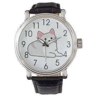 Cute Grey Cat Illustration, Feline Drawing Wristwatch