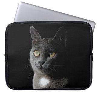 Cute grey cat laptop sleeve