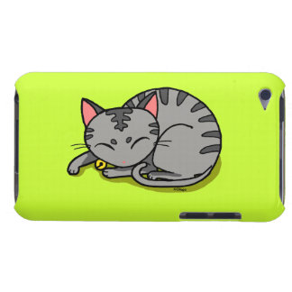 Cute grey cat sleeping iPod touch cases