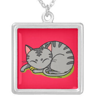 Cute grey cat sleeping square pendant necklace