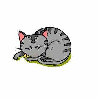 cute grey cat sleeping standing photo sculpture