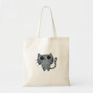 Cute Grey Cat with big black eyes Budget Tote Bag