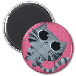 Cute Grey Cat with big black eyes 6 Cm Round Magnet