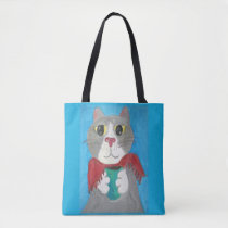 Cute Grey Coffee Cat Painting Tote Bag