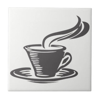 Cute Grey Coffee Cup Kitchen Graphic Design Tile