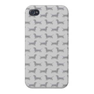 Cute Grey dachshund Dog Pattern iPhone 4 Case