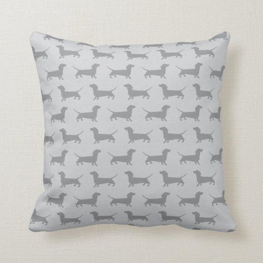 Cute Grey dachshund Dog Pattern Pillow