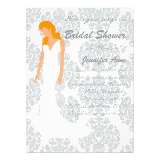 Cute Grey Damask Bridal Shower Invite