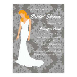 "Cute Grey Damask Bridal Shower Invite 6.5"" X 8.75"" Invitation Card"