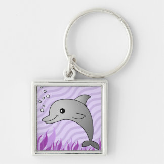 Cute Grey Dolphin in Purple Water Silver-Colored Square Key Ring