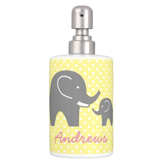 Cute grey elephant baby shower bathroom set gift