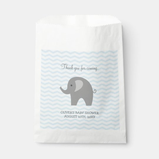 Cute grey elephant baby shower paper favour bags