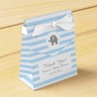 Cute grey elephant baby shower party favor box
