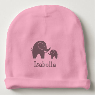 Cute grey elephant girly pink baby beanie hat