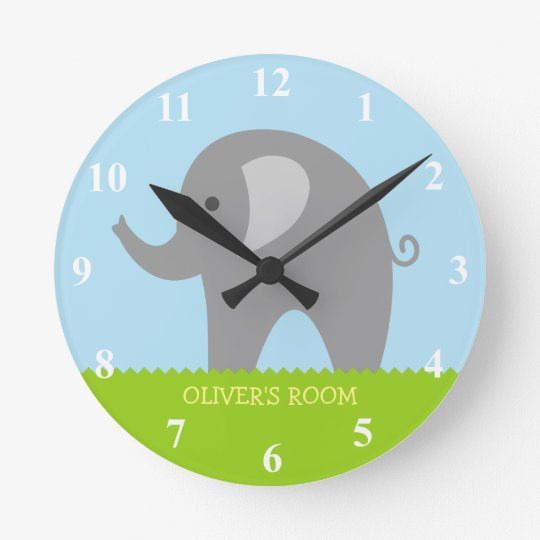 Cute grey elephant nursery wall clock for children