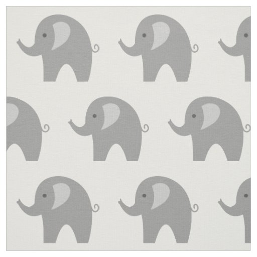 Cute grey elephant pattern fabric DIY textile