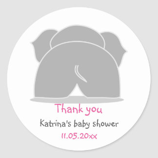 Cute Grey Elephant Pink Baby Shower Thank You Round Sticker