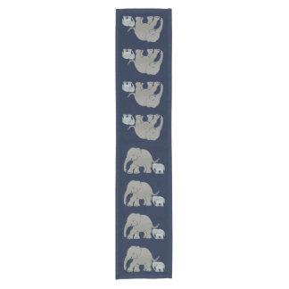 Cute grey elephant with baby on night blue