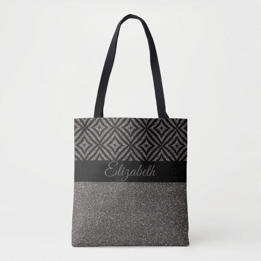 Cute Grey Glitter Black Pattern Pesonalized Tote Bag