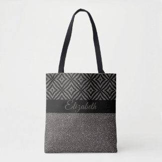 Cute Grey Glitter Black Pattern Pesonalized Tote Bag