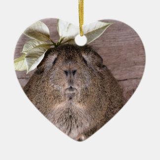 Cute Grey Guinea Pig Wearing a Leaf Hat Christmas Ornament