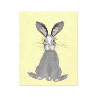 Cute Grey Hare Illustration Canvas Print