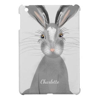 Cute Grey Hare Whimsy Illustration Case For The iPad Mini