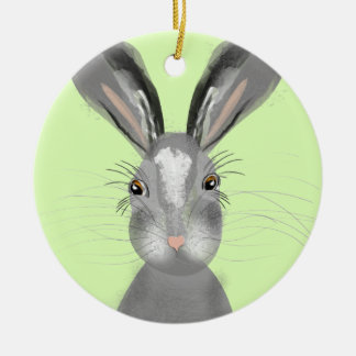 Cute Grey Hare Whimsy Illustration Christmas Ornament